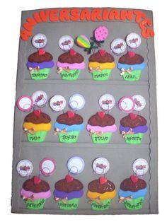 O aniversariante do mês tem muitos motivos para comemorar. E na escola ele também quer se sentir especial! Então... vamos comemorar!! Cada mês um Cupcake muito especial cheio de carinho irá representar seus alunos!  Será pura diversão!!  Estante provençal de cupcakes, toda em E.V.A com tags que levam o nome e o dia do aniversariante! R$ 50,55 Birthday Display, Birthday Charts, Birthday Board, Kids Church, Classroom Decor, Kindergarten, Cupcakes, Ideas Para, Education