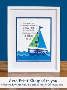 "Personalized Sailboat 8x10"" Print With Bible Verse Or Before You Were Born Quote…"