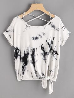 Shop Knot Front Crisscross Tie Dye T-shirt online. SheIn offers Knot Front Crisscross Tie Dye T-shirt & more to fit your fashionable needs. – T-Shirts & Sweaters Girls Fashion Clothes, Teen Fashion Outfits, Outfits For Teens, Girl Fashion, Girl Outfits, Casual Outfits, Mens Fashion, Jugend Mode Outfits, Black And White T Shirts