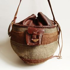 1970s woven sisal bag / leather and straw by OldBaltimoreVintage, $69.00