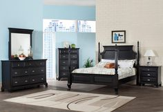 Black Bedroom Furniture - basically what we have with one more bedside table