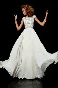 Flamboyant A Line High Scoop Neck Floor Length Ivory Chiffon Beading Dress USD 169.99 LDPBMY92JS - LovingDresses.com