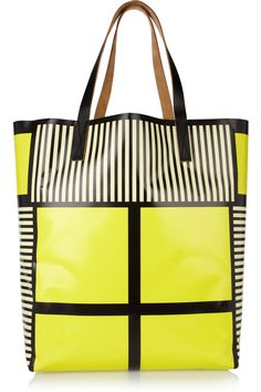 Marni|Printed vinyl and leather tote|NET-A-PORTER.COM