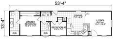 14 x 54 Floorplan from Little House on the Trailer