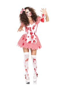 No one can resist your cold zombie hands when you don this Undead Nurse adult womens costume. The red and white, blood-spattered candy striper dress of this zombie costume features a jagged-edged hem and comes complete with a matching hair bow.