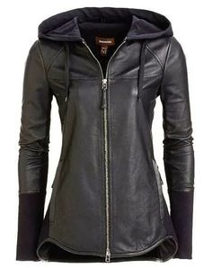 Ladies Jacket: Black Leather Hooded Jacket