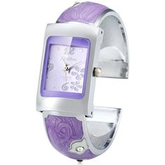 Xinhua 691 Female Quartz Watch Bracelet Rectangle Dial Steel Wristband (€5,23) ❤ liked on Polyvore featuring jewelry, purple, wristband bracelet, purple bracelet, steel jewelry, bracelet jewelry and steel bracelet