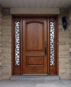 Custom wood door with worught iron sidelites. Wood doors Toronto, presented by M. Doors, manufacturer of custom wood doors and wrought iron inserts Wood Entry Doors, The Doors, Entrance Doors, Wooden Doors, Door Design Interior, Main Door Design, Wooden Door Design, Interior Doors, Front Door Design Wood