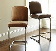 Pottery Barn: Archer Barstool in Tall/Dark Brown on Right (MSRP $819)