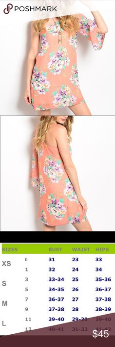 """Single shoulder floral dress • Fun and flowy one-shoulder preach floral dress.                                                                         • L: 35"""" B:17"""" W:17"""".                                                                 • 100% Polyester Dresses"""