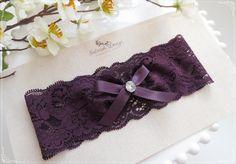 Plum Wedding Garter Purple Bridal Garters by SelinishDesign