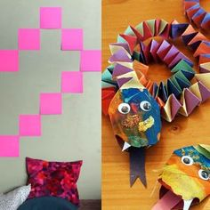 dragons made using colour paper chains (although they look more like snakes)
