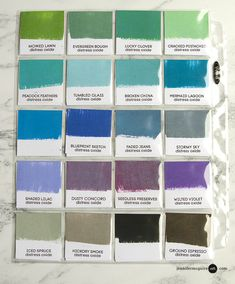 Distress Oxide Ink Color Chart Painting Video by Jennifer McGuire Ink Encre Distress Ink, Distress Oxide Ink, Scrapbook Organization, Scrapbook Supplies, Scrapbooking, Druckfarben Im Distress-look, Jennifer Mcguire Ink, Tim Holtz Stamps, Art Journal Tutorial