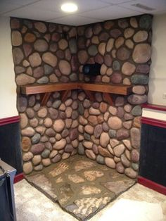 Stone Surround for Wood Burning Stove traditional-basement Rustic House, Hearth Stone, Wood, Wood Pellet Stoves, Wood Wall, Cabin Decor, Wood Burning Stove Corner, Wood Diy, Wood Stove Surround