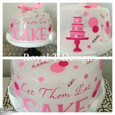 """Let Them Eat Cake"" Cake Carrier! $24 Cupcake Carrier, Cricut Cake, Silhouette Projects, Silhouette Cameo, Cake Holder, Gifts For A Baker, Circuit Crafts, Personalized Cakes, Vinyl Gifts"