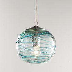 Swirling Glass Globe Pendant Light aqua