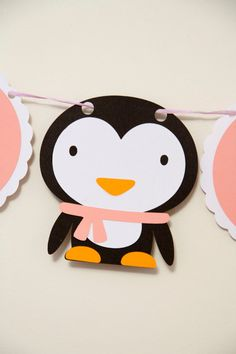 Penguin party pack, complete with banner and cupcake toppers, perfect for any occasion on Etsy, $43.06