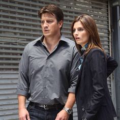 Stana Katic + Nathan Fillion as Katherine Houghton Beckett + Richard Castle