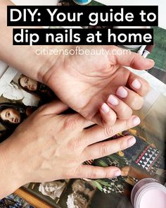 a DIY dip nail at home with these step-by-step instructions for perfectly acrylic powder nails w Sns Dip Nails, Acrylic Dip Nails, Dip Manicure, Acrylic Nails At Home, Diy Nails At Home, Dipped Nails, Nail Drill, Powder Nails, Nail Tutorials
