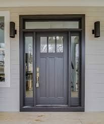FRONT DOOR IDEAS – Among the very first points about a house that a guest or home buyer notices are the front doors. If you wish to make a statement, upgrading or overhauling your front door … Craftsman Exterior Door, Black Exterior Doors, Exterior Doors With Sidelights, Craftsman Front Doors, Exterior Doors With Glass, Black Front Doors, Painted Front Doors, Craftsman Farmhouse, Bungalow Exterior