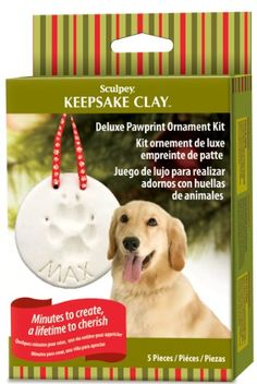 $8.98-$14.99 Keepsake Pawprint Ornament Kit; minutes to create, a lifetime to cherish.  Decorate for the holidays with a pawprint of your favorite pet.   Complete kit includes everything needed to create a lasting holiday ornament with a cute pawprint in clay.  Easy to embellish with your pet's name, date of birth, year or other bakeable accessories.