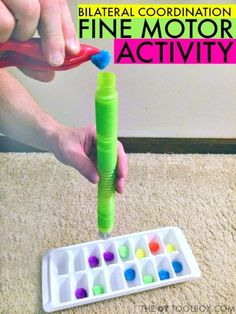 Coordination Activity Using Pop Toobs Work on bilateral coordination using pop toobs toy.Work on bilateral coordination using pop toobs toy. Fine Motor Activities For Kids, Motor Skills Activities, Gross Motor Skills, Preschool Activities, Preschool Writing, Dementia Activities, Occupational Therapy Activities, Occupational Therapist, Sensory Integration Therapy