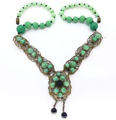 Vintage Art Deco Czech Carved Floral Peking Green Glass Bead Filigree Necklace   Clarice Jewellery   Vintage Costume Jewellery