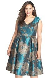Adrianna Papell Metallic Jacquard Fit & Flare Midi Dress (Plus Size) Midi Dress Plus Size, Plus Size Cocktail Dresses, Plus Size Party Dresses, Party Dresses For Women, Plus Size Dresses, Plus Size Outfits, Plus Size Womens Clothing, Plus Size Fashion, Size Clothing