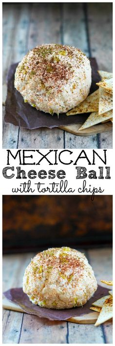 Mexican Cheese Ball with spicy tortilla chips. Looking for a spicy twist on a classic cheese ball? Try this one with with taco seasoning and green chilies. Make sure to eat it with toasty tortilla chips dusted with cumin and chili powder. Mexican Cheese Ball with tortilla chips recipe | Take Two Tapas