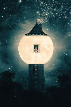 """victoriousvocabulary: LUNACOLOUS [noun] Fanciful (neologism): living on or in the moon. Etymology: from Latin lūna, """"moon; crescent"""" + -colous, a combining form meaning """"inhabiting"""". [Paula Belle Flores - The Moon Tower] Canvas Wall Art, Canvas Prints, Art Prints, Moon Magic, Star Magic, Beautiful Moon, Moon Art, Nocturne, Whimsical Art"""