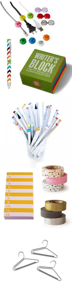 #office supplies via The Style Umbrella. Cool stuff -- I love those gem top pencils!