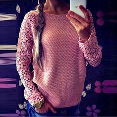 Superior de la venta del otoño del resorte mujeres de la manera 2015 manga larga del cordón del remiendo Casual Ladies Pullover Jerseys Plus Size S XXL 5 colores-en Jerseys de Ropa y Accesorios de Mujer en Aliexpress.com | Grupo Alibaba