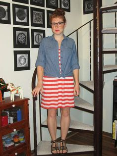 brown vintage glasses, chambray shirt, red and cream striped dress, dark brown gladiator sandals