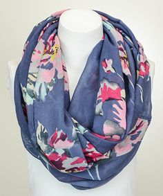 This Leto Collection Blue Floral Infinity Scarf by Leto Collection is perfect! #zulilyfinds