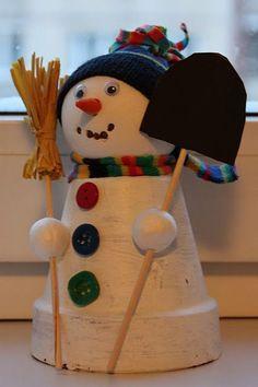 Clay Pot Snowman: