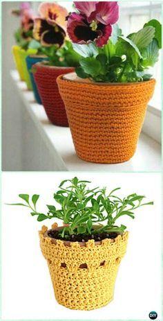 Crochet Multi-purpose Flowerpot Vase Cover Free Diagram - #Crochet Plant Pot Cozy Free Patterns