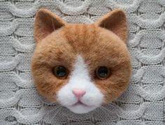 Купить Брошь Рыжий котик (валяная брошь, брошь из шерсти) - брошь, брошь валяная