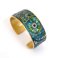. Iridescent Mosaic Polymer Clay Brass Cuff Bracelet. $190.00, via Etsy