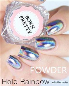 $4.59 0.5g/Box Holographic Laser Rainbow Powder Chrome Pigment Manicure Nail Art Glitter - BornPrettyStore.com