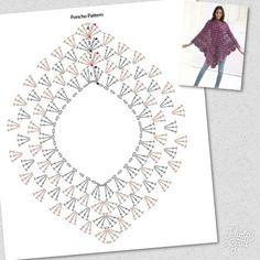 Crochet Poncho Patterns, Crochet Chart, Crochet Motif, Diy Crochet, Crochet Stitches, Knitting Patterns, Crochet Hedgehog, Crochet Waffle Stitch, Crochet African Flowers