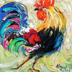 Original oil painting Rooster Barnyard Bird palette knife impasto on canvas impressionism fine art by Karen Tarlton