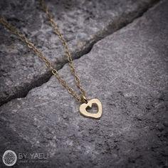Love necklace dainty necklace gold necklace tiny heart by ByYaeli