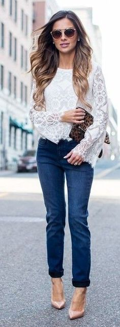 #streetstyle #casualoutfits #spring |  White Lace Bell Sleeve Top + Denim | Mia Mia Mine