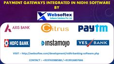 Websoftex software solutions in one of top online Nidhi software providers in India.It is completely web based and secure.It is Multi user and Multi branch core banking application.We integrate top payment gateways in our software such as InstaMojo,CCAvenue,Paypal,PayTM,Razorpay ,Yes bank,HDFC bank,Axis bank,RBL bank etc. so that customers can make online payment. Banking Software, Core Banking, Axis Bank, Integrity, India, Top, Goa India, Data Integrity