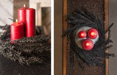 Elegantly dark and scarily chic, our faux black witch grass spray creates a dramatic Halloween centerpiece when wrapped around red wax pillar candles.