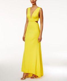 Adrianna Papell Petite V-Neck High-Low Gown | macys.com