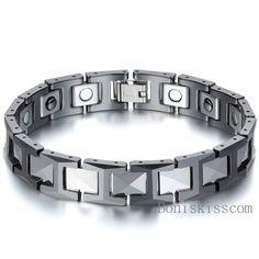 Herren Armband Wolframstahl Keramik Magnet H Link Elegant Gesundheit Armreif