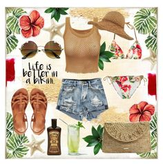 """""""SUMMER TIME"""" by celine-diaz-1 ❤ liked on Polyvore featuring BasicGrey, GUESS, LaMont, Melissa Odabash, ASOS and Montce"""