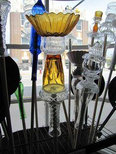 More Glassware Garden Totems