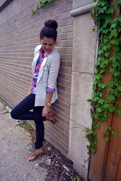 bun, blazer, plaid, jeans, heels